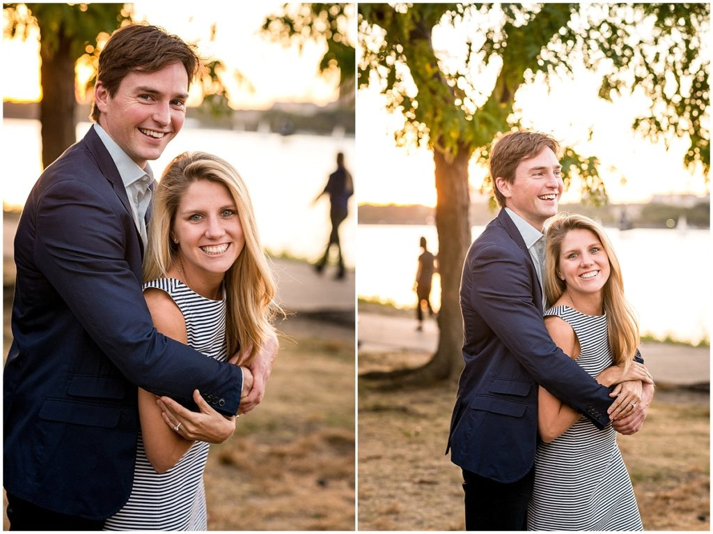 Couple portrait was taken during an engagement session on the Charles River.