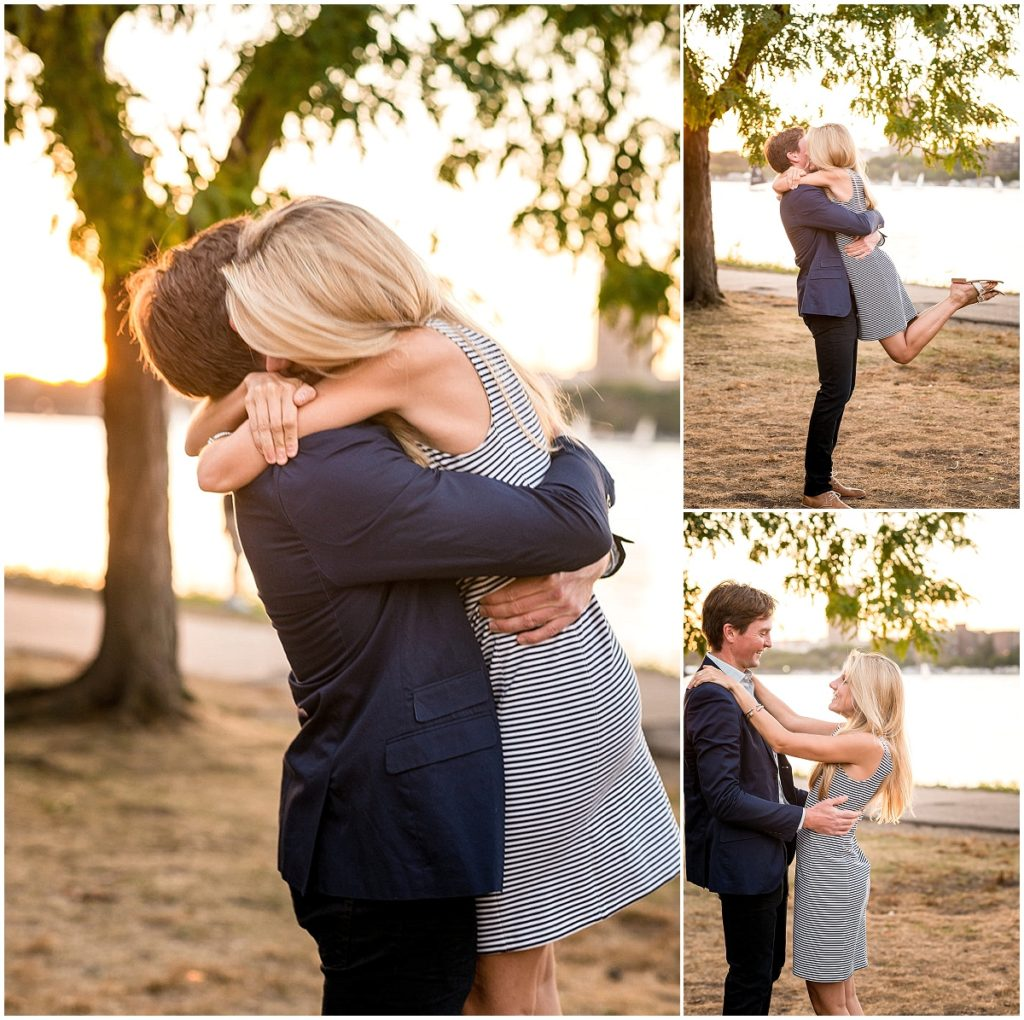 Couple hugging after surprise proposal.