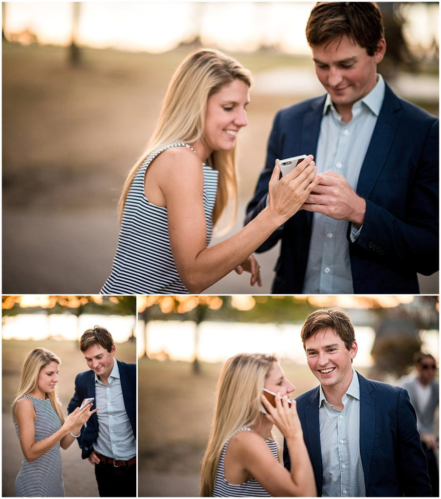 Surprise proposal couple telling family of engagement