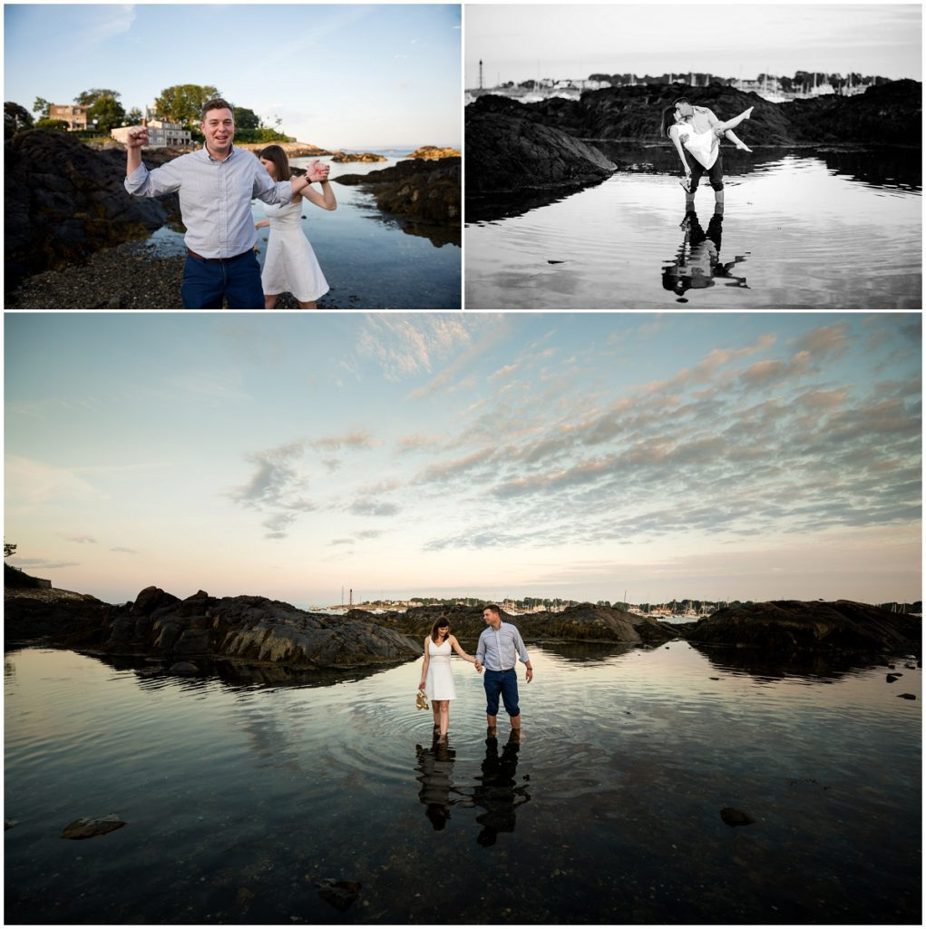 Engagement session during Sunset on the rocks in Marblehead, MA