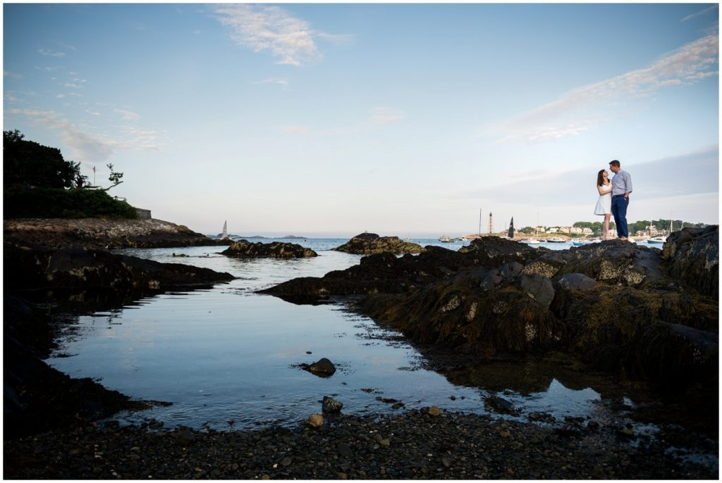 Boston sunset engagement photos in Marblehead, MA