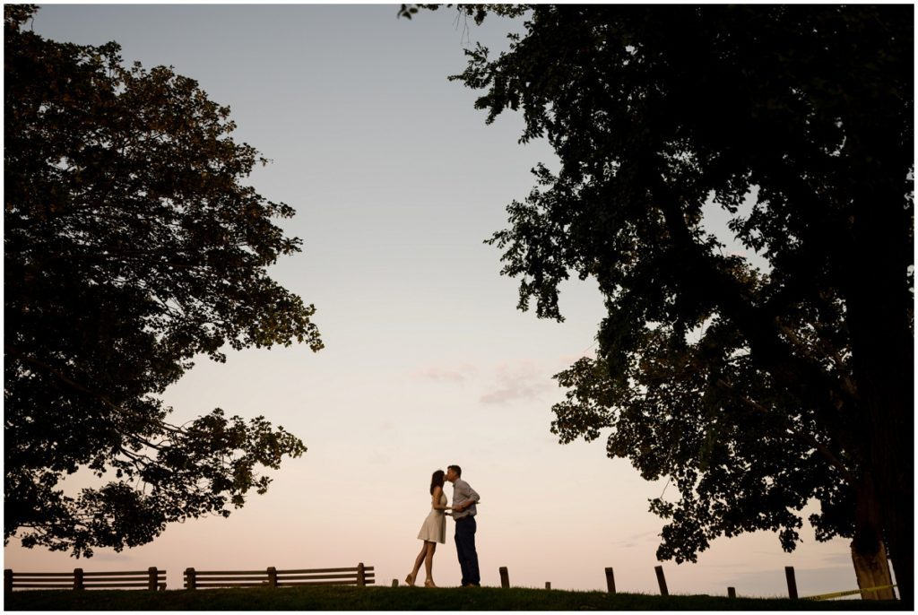 Sunset in Marblehead during engagement session