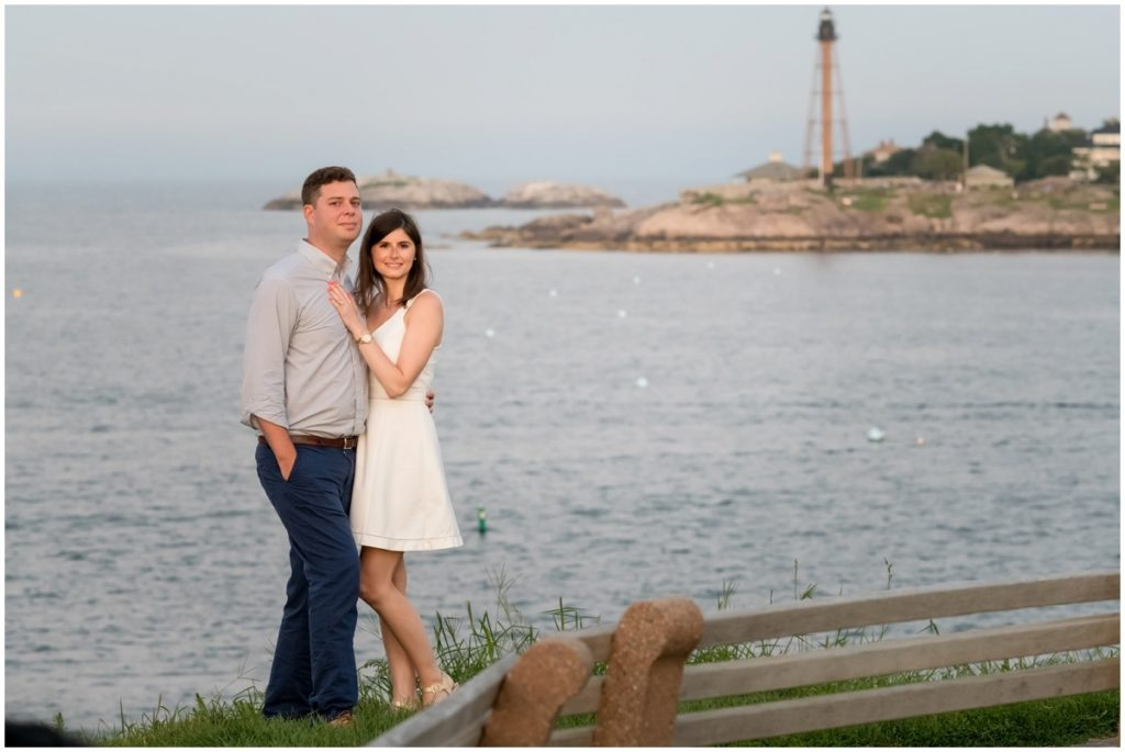 Classic couple portrait taken during engagement session in Marblehead, MA