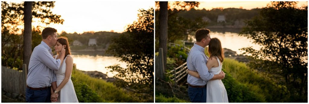 Sunset over the ocean in Marblehead during engagement session