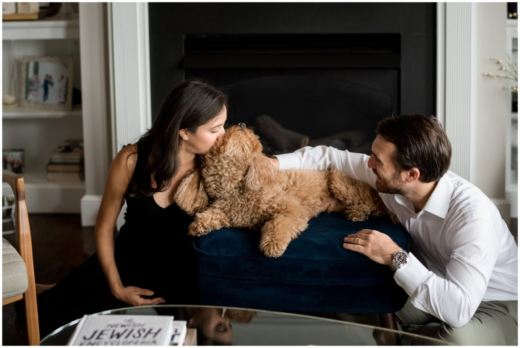 kisses for dog mama at home maternity session