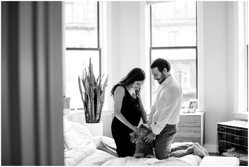black and white image of couple on bed with puppy Maternity photographer Boston
