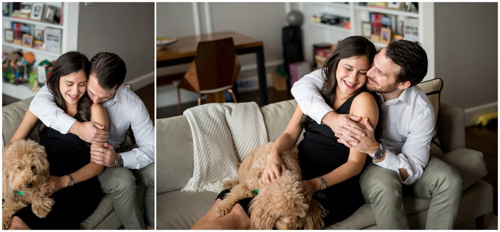 puppy is the focus of this maternity session at home