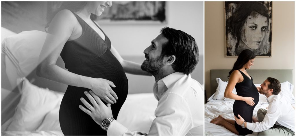 dramatic painting in the background of a maternity photoshoot at home in Boston