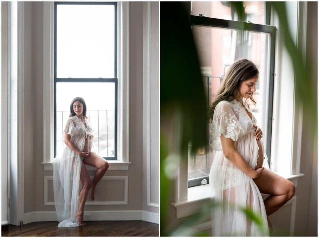 maternity session in Boston. Mother sitting in window sill