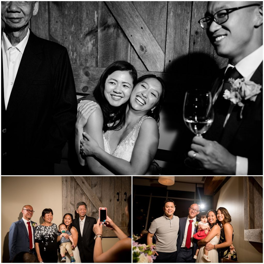 Guests celebrate with newlyweds during reception at boston restaurant