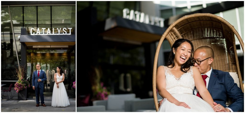 Bride and Groom outside Catalyst restaurant Cambridge