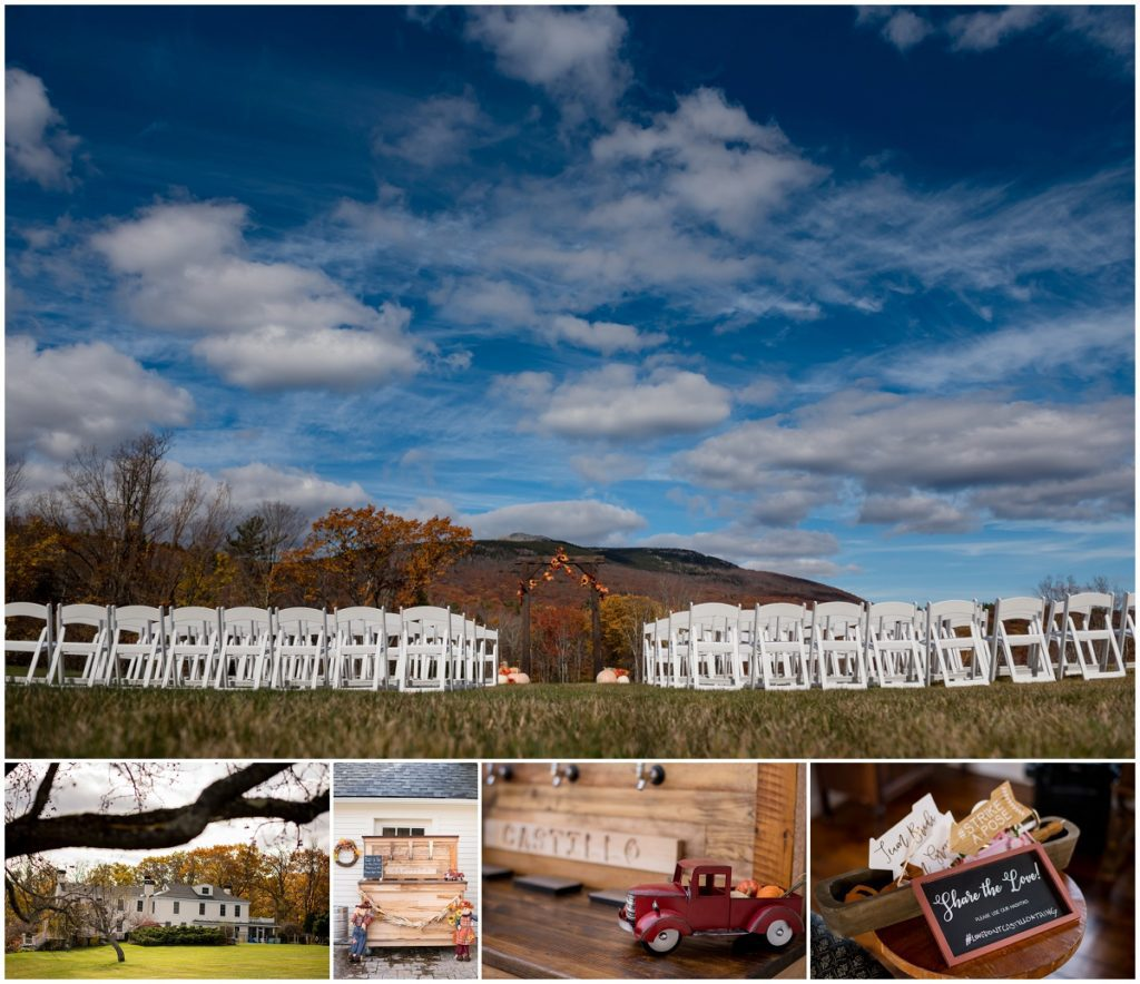 Ceremony outdoor space with mountain views in NH fall colours