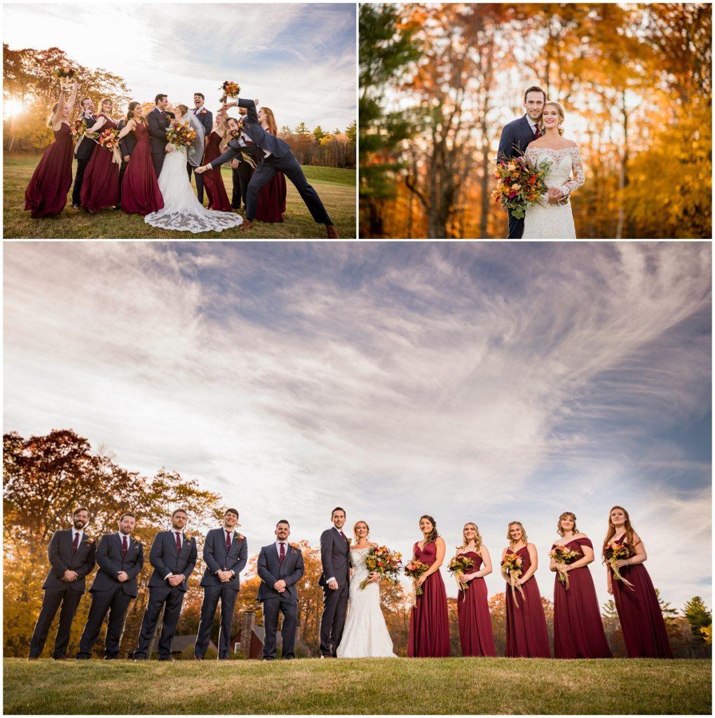 bride and groom with wedding party in autumn wedding in NH
