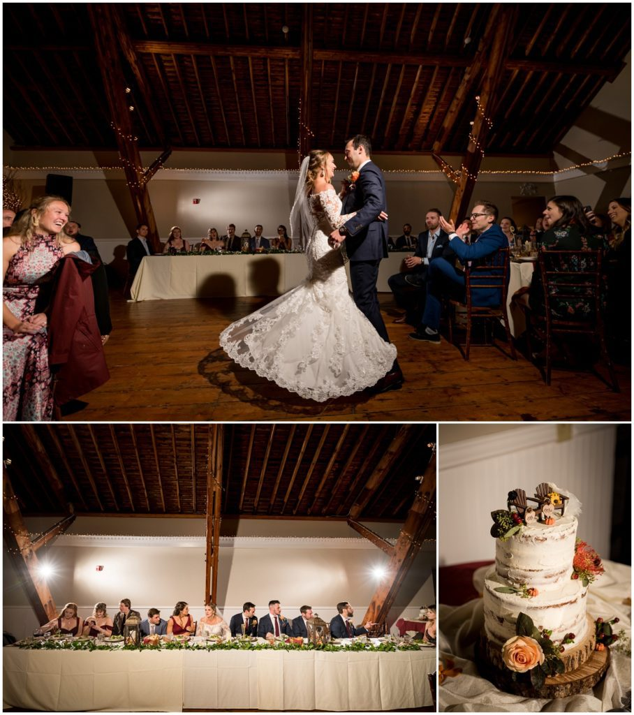 First dance during barn reception in wedding in NH