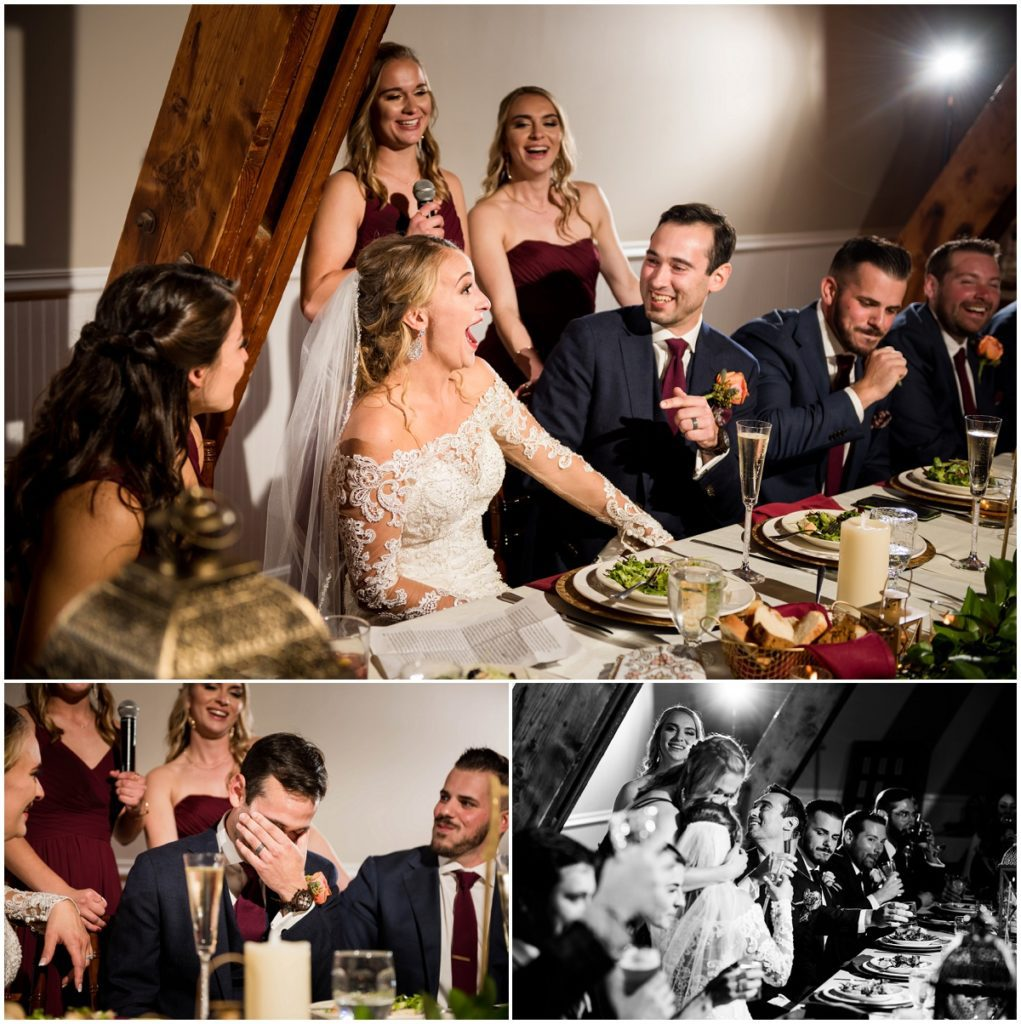 Groom's sisters and their speech with reactions during reception