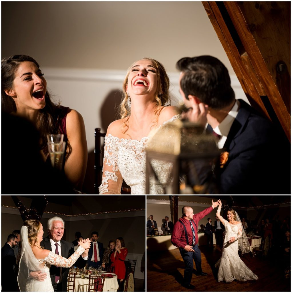 Bride and father dance with reactions