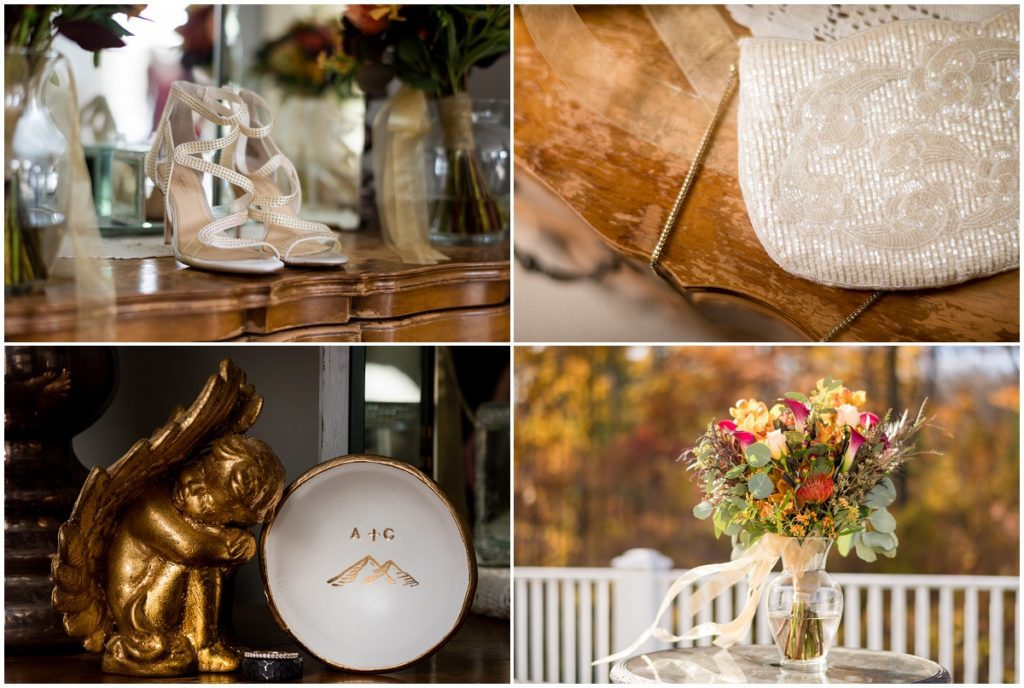 Bridal details including shoes, purse, rings and bouquet