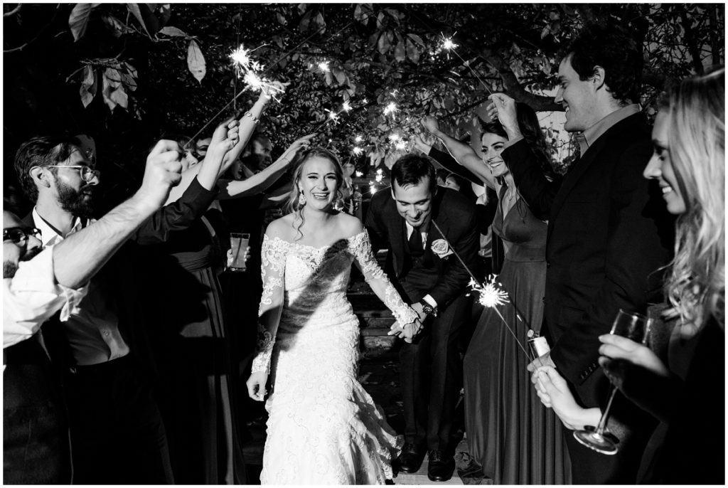 Black and white sparkler exit after wedding reception in barn wedding in NH