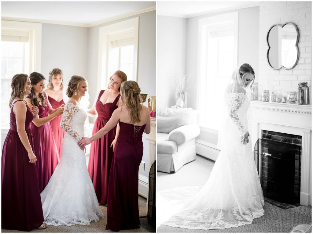 Bride and her bridesmaids during prep getting ready