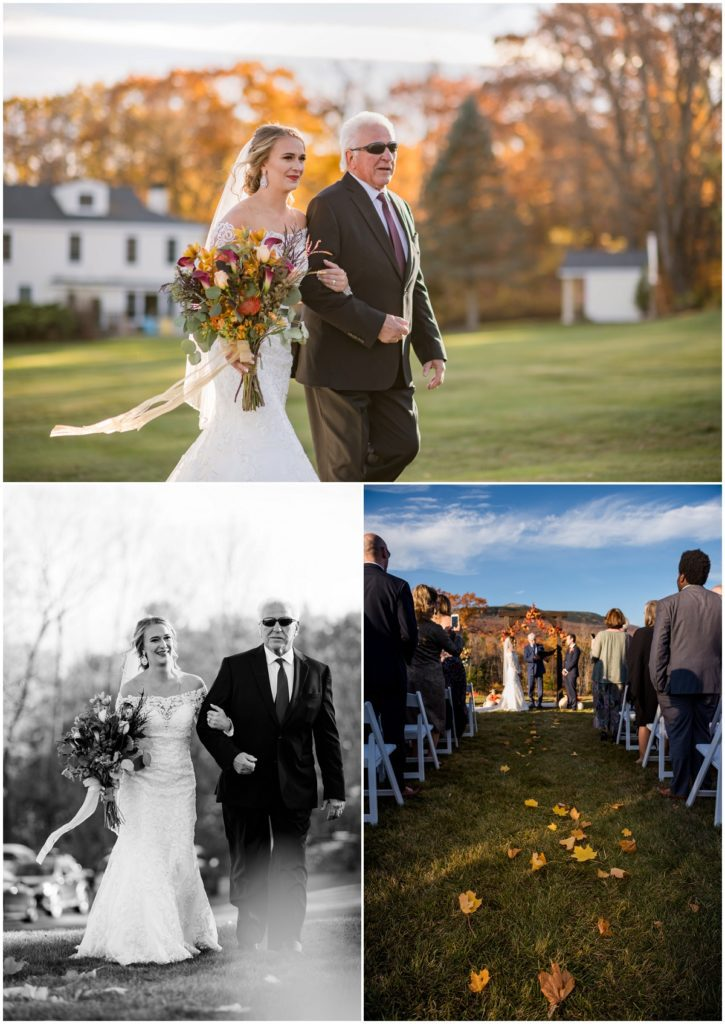 Bride and father walking down the aisle during procession in a wedding
