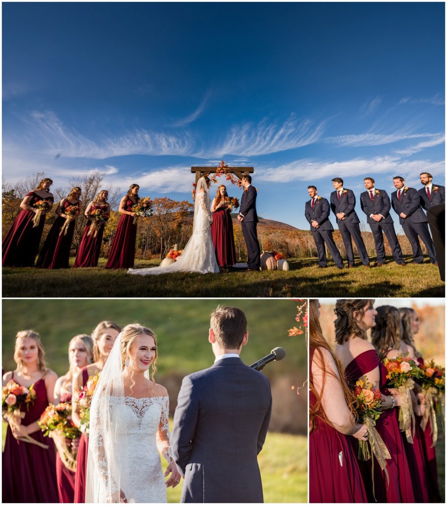 Outdoor ceremony view of mountains in NH and wedding party