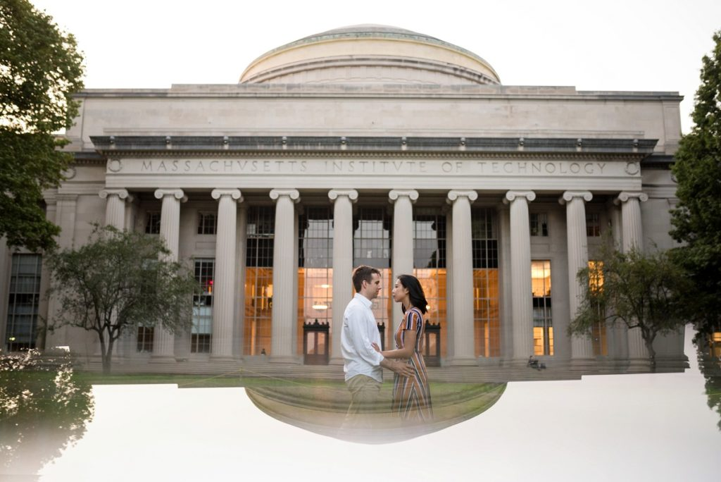 MIT engagement session photo with reflection