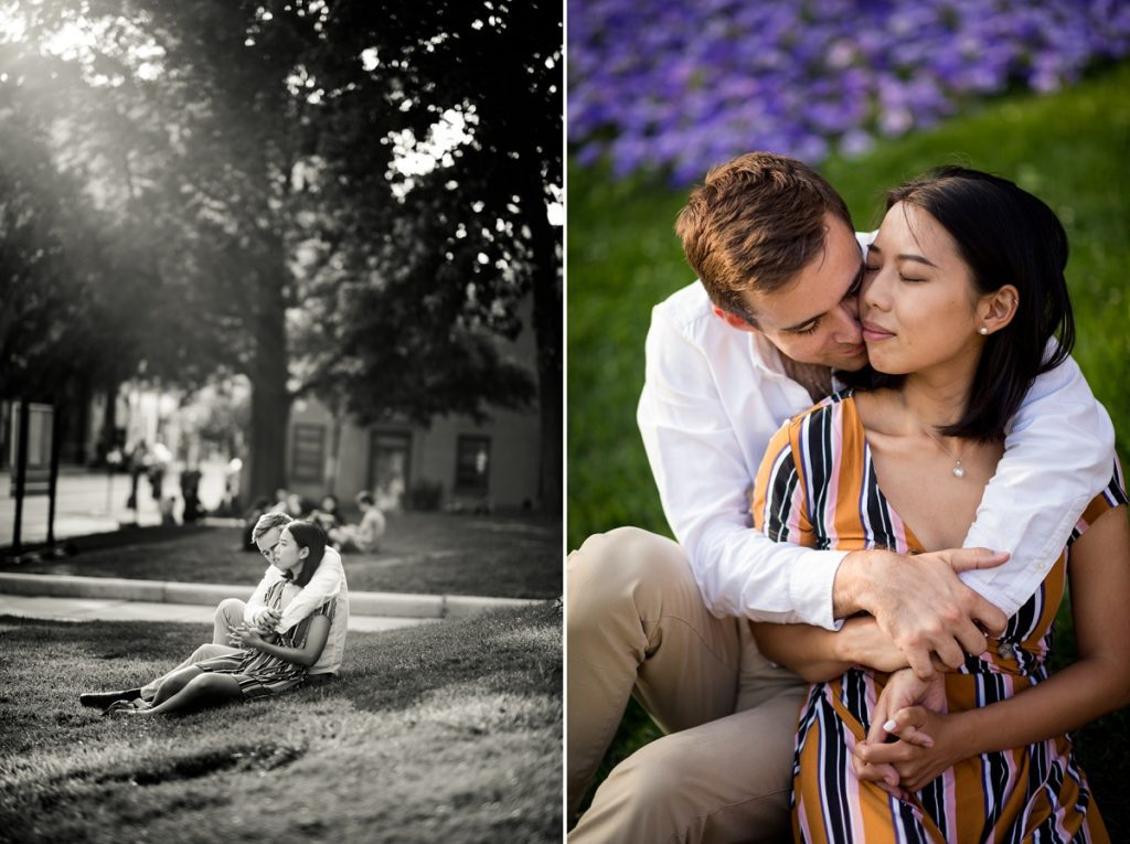 Couple snuggling at Cambridge City Hall Engagement session