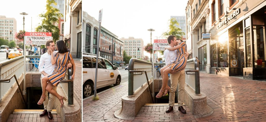 Central Square T stop engagement session