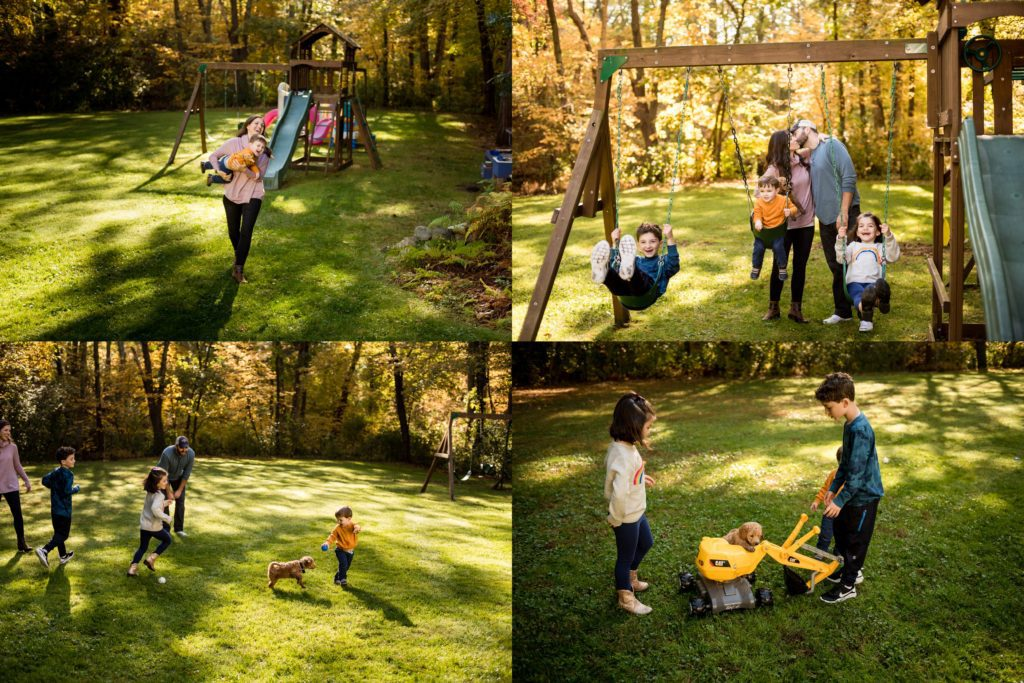 Early morning family session in backyard