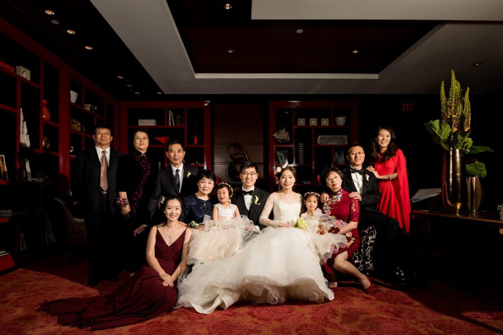 Formal family photos during wedding at hotel