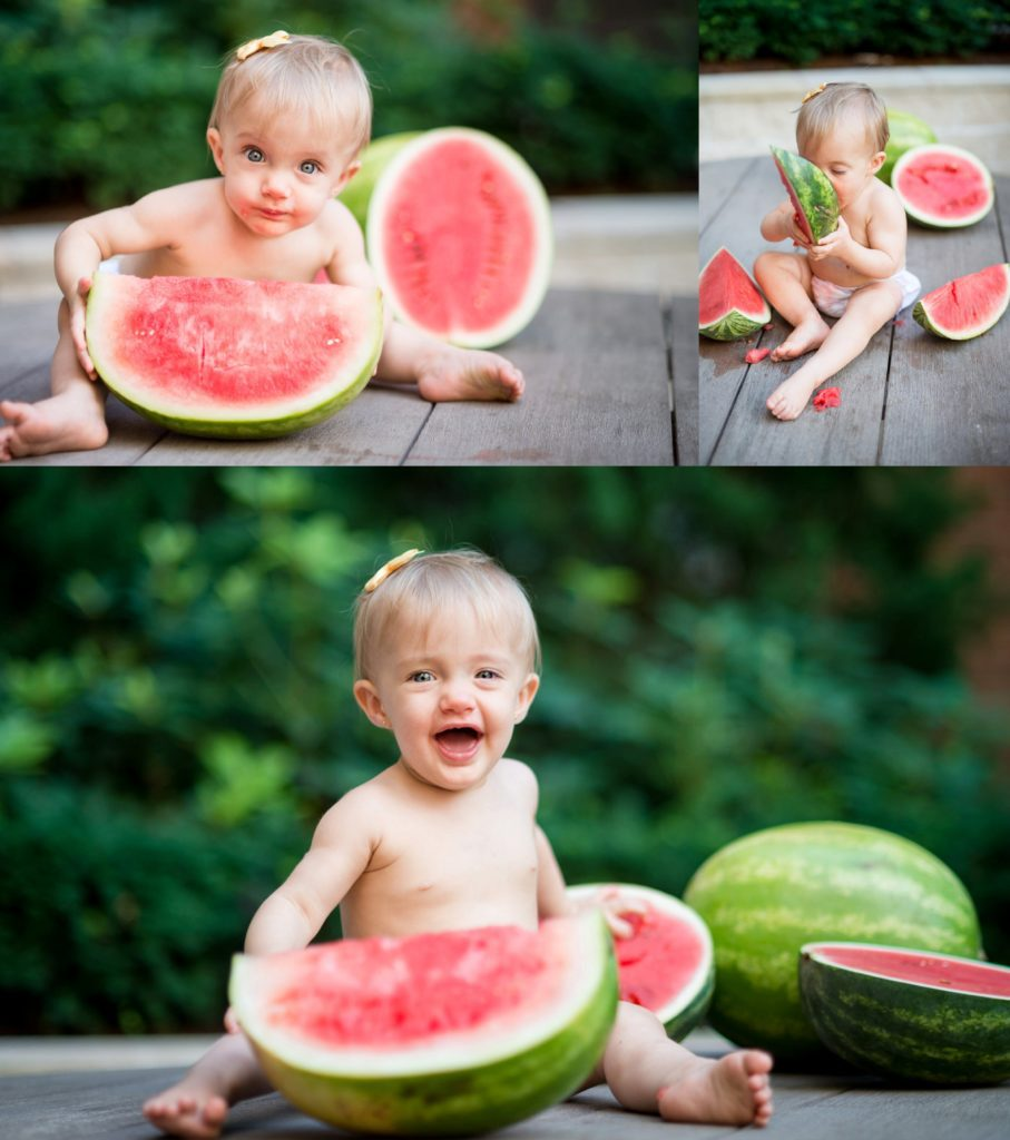 1 year old baby eating watermelon