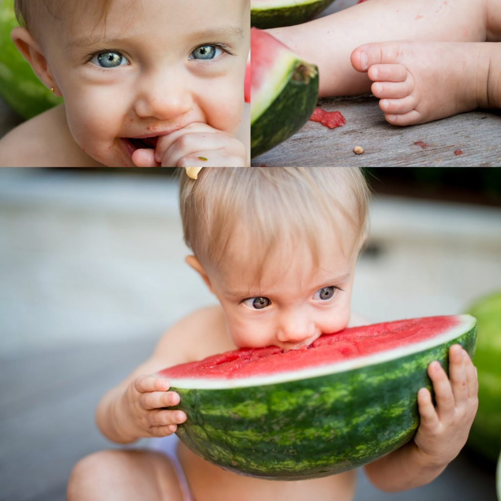 Baby and watermelon in family session at home