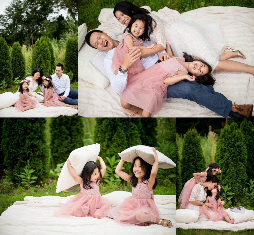 family session at home 2020 pillow fight