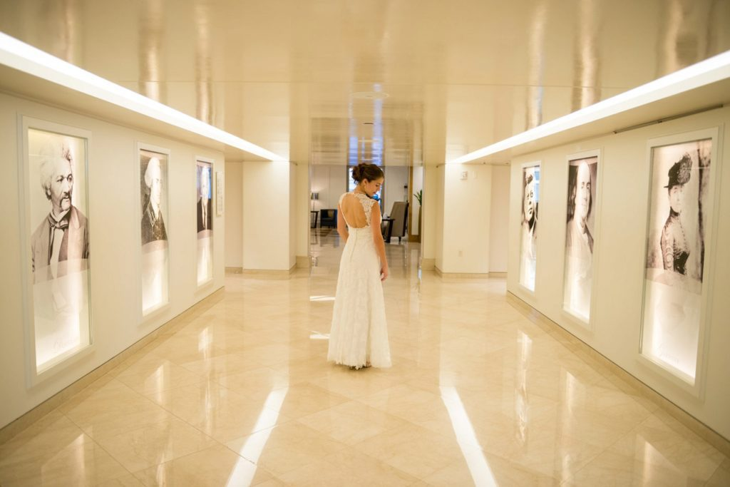 Langham has this cool hallway for a first look during a wedding I think!