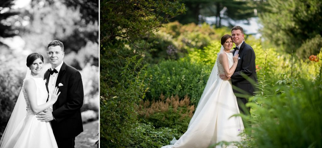 Couple portraits in the garden at the Estate at Moraine Farm