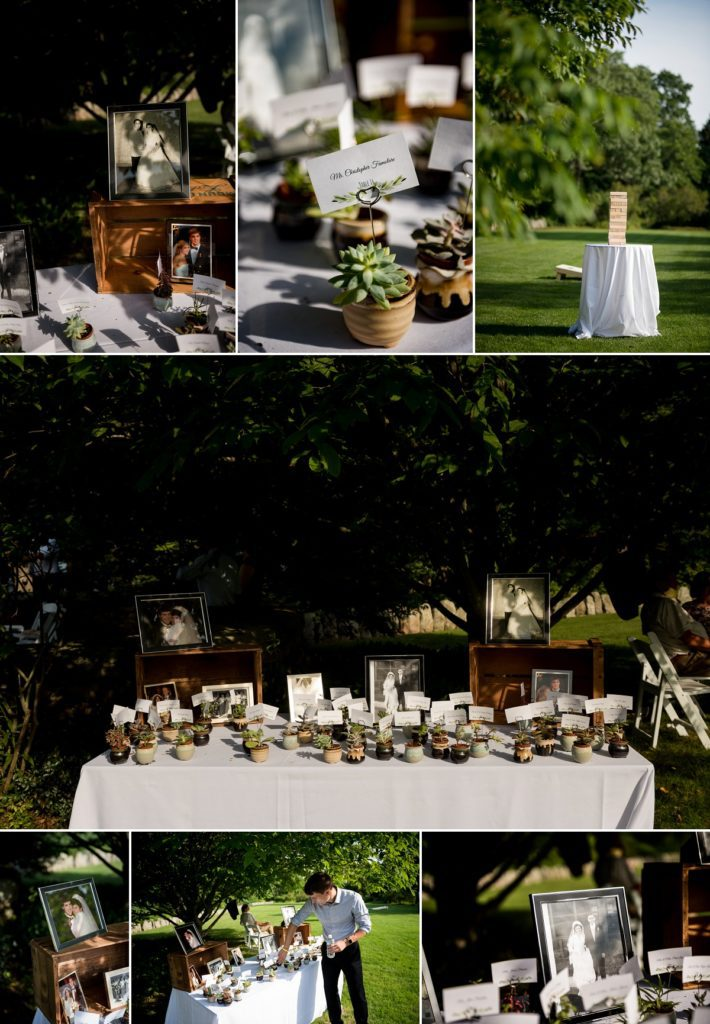 Welcome table with table numbers for wedding guests