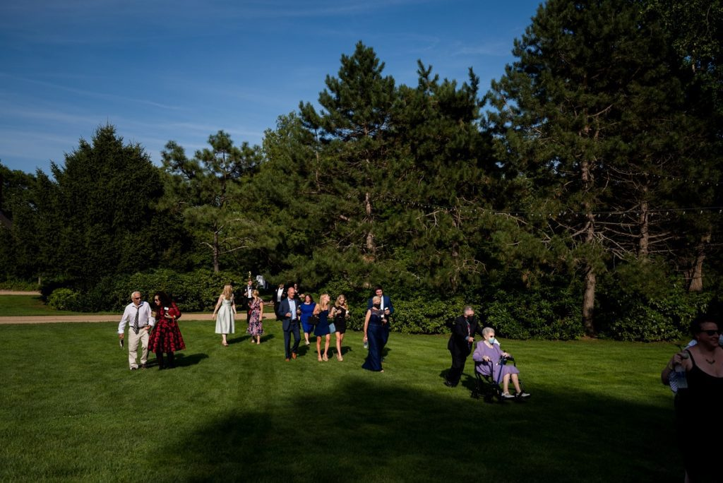 Guests entering the tent at wedding