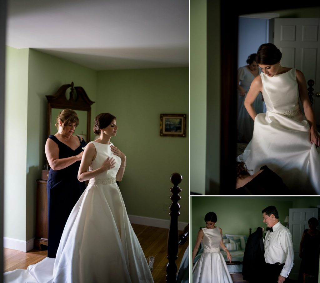 First look with her father during bridal prep