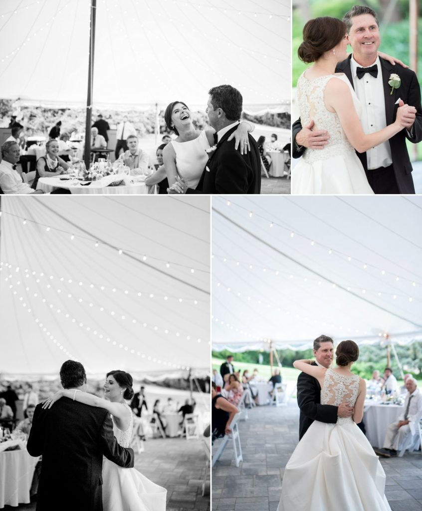 Dance with father and daughter at reception | The Estate at Moraine Farm