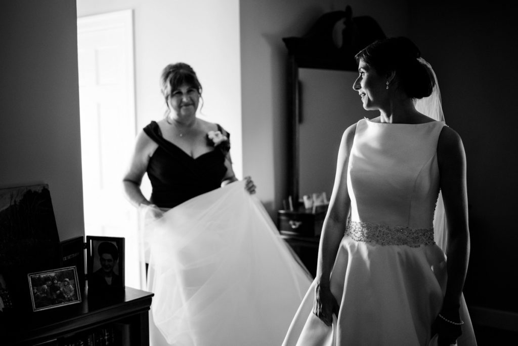 black and white image of mother of the bride