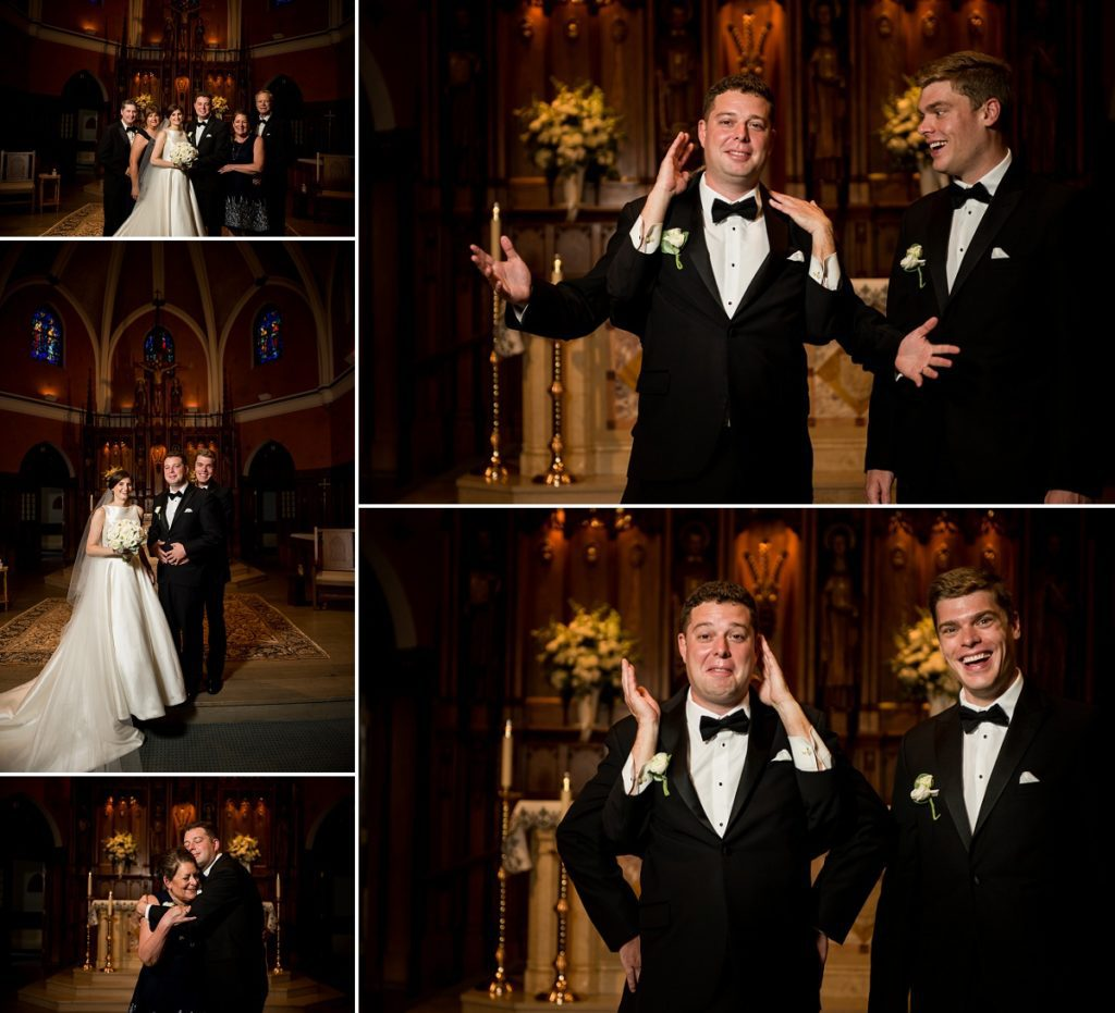 Couple portraits at the church after wedding ceremony