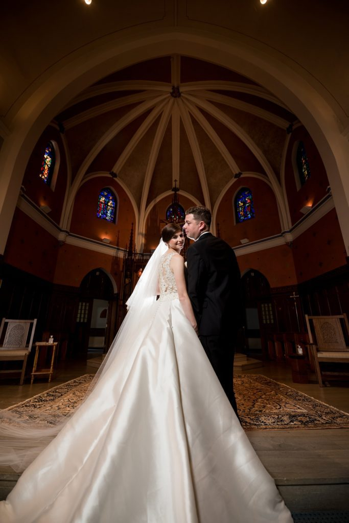 Couple portraits at the church in Marblehead, MA