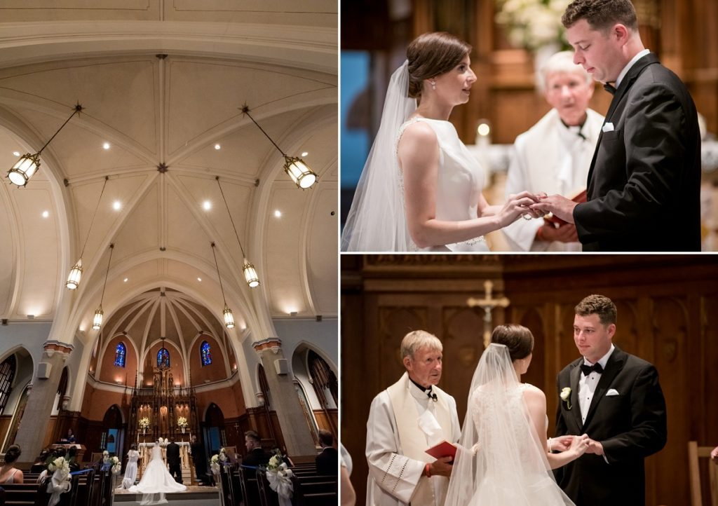 exchanging vows at the alter between bride and groom