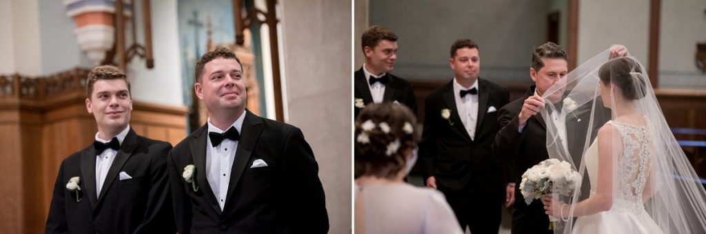 Father walking bride down the aisle and taking off blusher