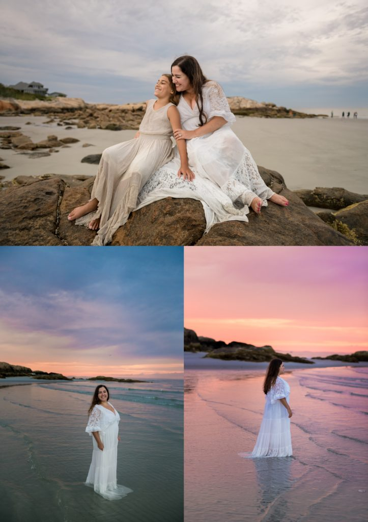 Gown used for a beach session in Massachusetts at Wingaersheek beach