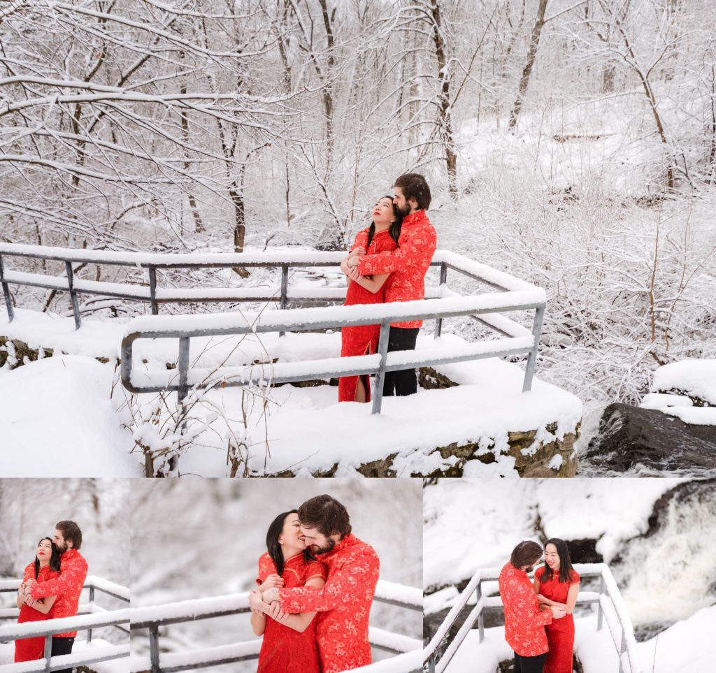 Waltham engagement session in the snow