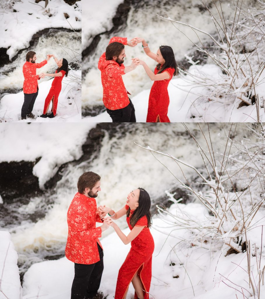 couple being playful during their engagement session
