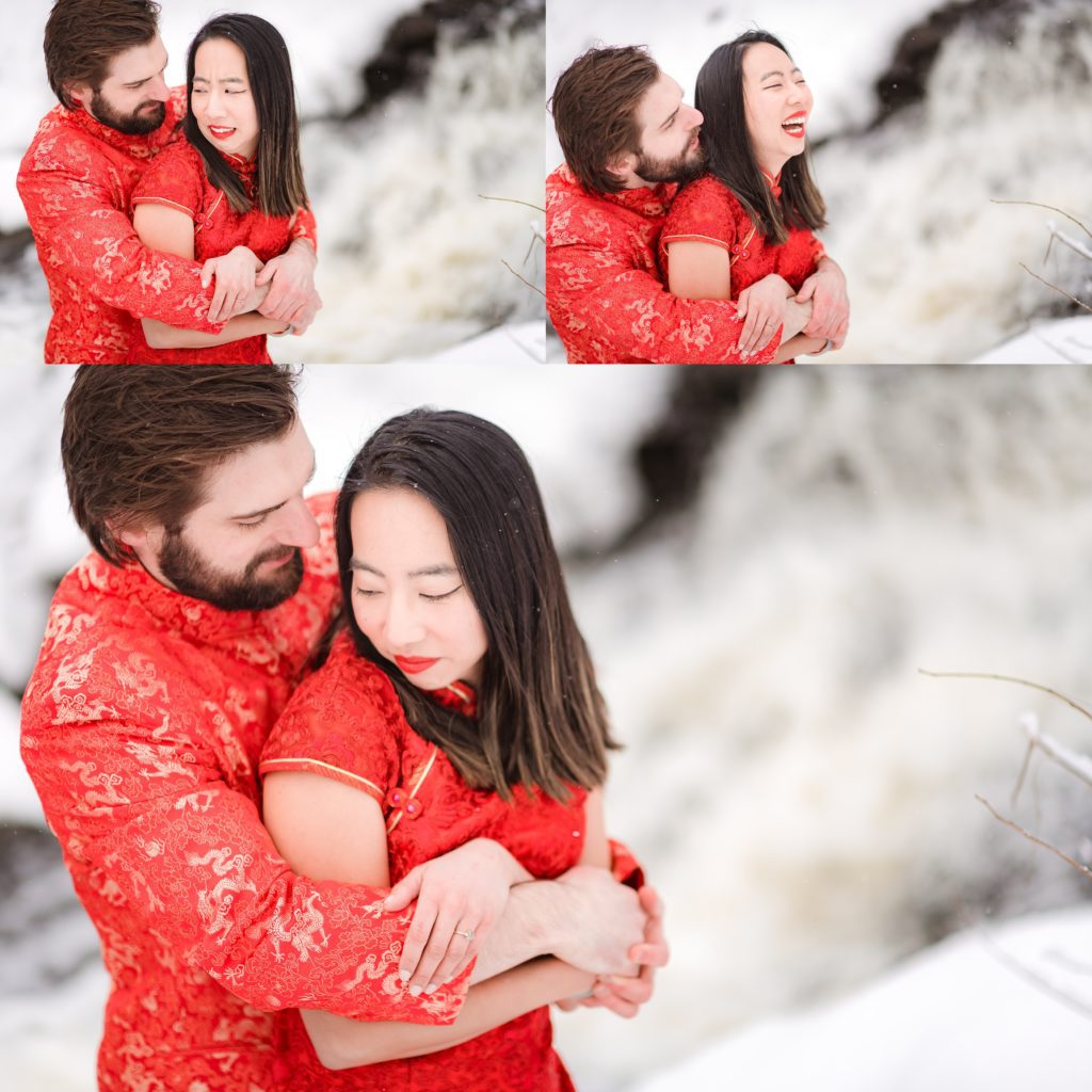 Couple being playful during their winter photo sesssion