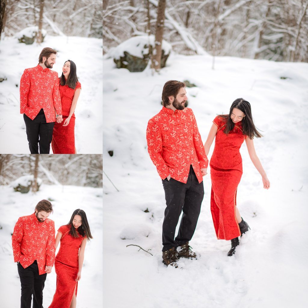 Couple walking through the snow during their elopement in Boston