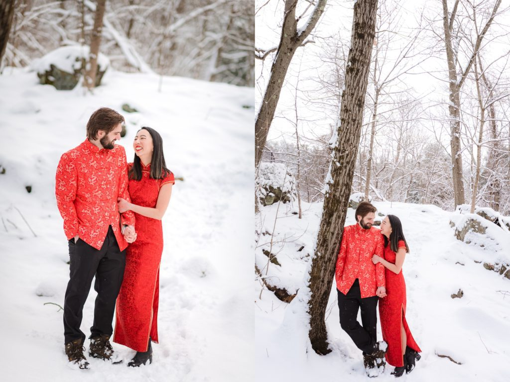 Couple leaning against a tree in Waltham Winter snow engagement